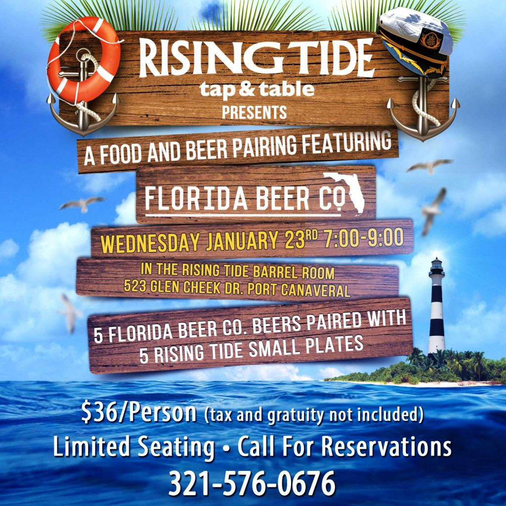 Food and Beer Pairing with Florida Beer Company at Rising Tide tap and table in Port Canaveral