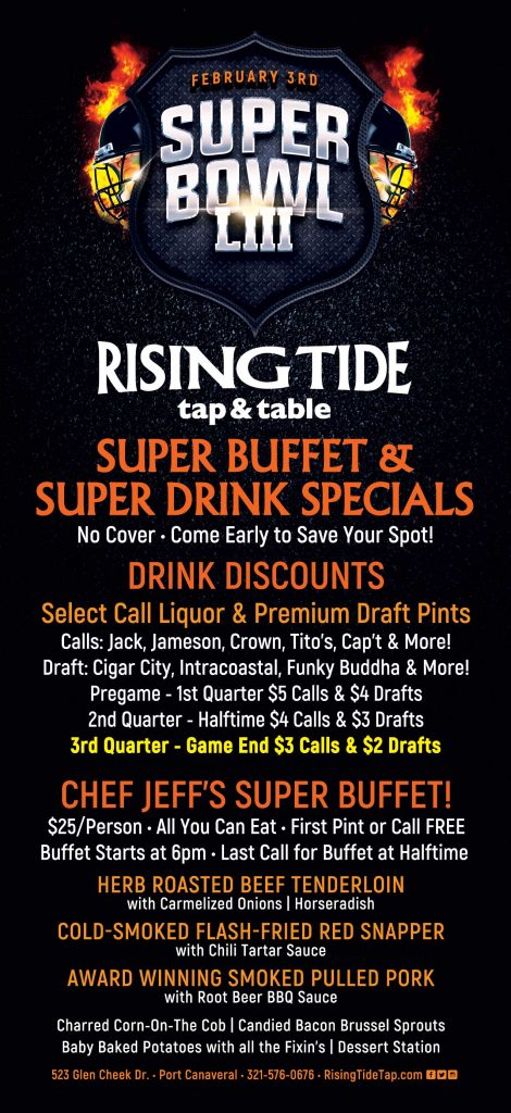 Super Bowl Party at Rising Tide tap and table in Port Canaveral