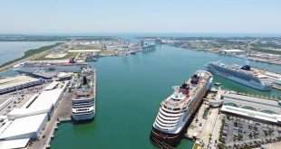 six cruise ships in port at Port Canaveral